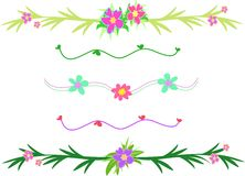 Mix of Flower and Leaf Borders. Here are handy flowers and leaf borders for your projects Stock Photo