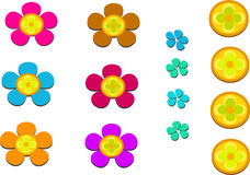 Mix of Flowers and Petals Stock Images