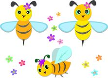 Mix of Flying Bees and Flowers royalty free illustration