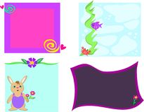 Mix of Frames of Designs, Flowers, Rabbit, and Fis Stock Image