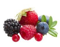 Mix of fresh berries. Isolated on white background stock image