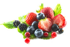 Mix of fresh berries isolated on white background. Mix of fresh ripe berries isolated on white background. sweet strawberry, blueberry, blackberry, black and red Stock Photography