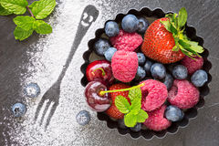 Mix of fresh berries in a small round metal backing mold and sug Royalty Free Stock Photography