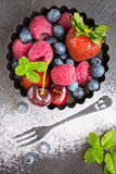 Mix of fresh berries in a small round metal backing mold and sug Stock Image