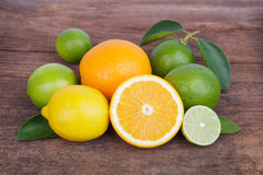 Mix of fresh citrus fruits Stock Image