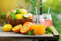 Mix of fresh citrus fruits in basket and juice in glass jars. Stock Image