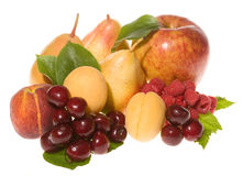 Mix of fresh fruits with leafs Stock Image