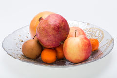 Mix fresh fruits on plate Royalty Free Stock Images