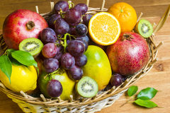 Mix of fresh fruits on wicker bascket Stock Photography