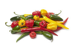 Mix of fresh hot chili peppers Stock Photos