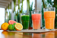 Mix of fresh juices on the summer terrace Royalty Free Stock Image