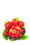 Mix of fresh and ripe berries isolated on white background. Mix of fresh and ripe berries isolated on white background Stock Photography