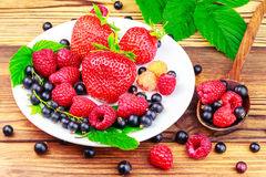 Mix of fresh, ripe berries in plate and spoon on wooden background. Royalty Free Stock Images