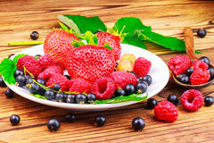 Mix of fresh, ripe berries in plate and spoon on wooden background. Stock Photography