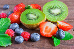 Mix of fresh summer berries and fruits Royalty Free Stock Image