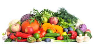 Mix of fresh vegetables and fruit Royalty Free Stock Images