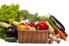 Mix of fresh vegetables on a white Stock Photo