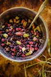 Mix of frozen berries, sugar and potato flour Royalty Free Stock Photography
