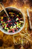 Mix of frozen berries- wild strawberries and blueberries Royalty Free Stock Photos