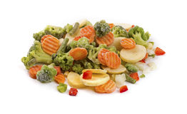 Mix of frozen vegetables isolated on white Stock Photo
