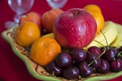 Mix fruit. Mixed fresh fruit in the dish Royalty Free Stock Photo