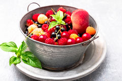 Mix fruit and berries in grey metal bowl. Close up. Mix fruit and berries in grey metal bowl. Close up Stock Photography