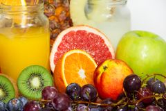 Mix of fruit and juice drinks and shakes royalty free stock images