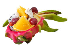 Mix fruit salad Served in creative  Dragon fruit, Pitaya rind bowl Stock Photos