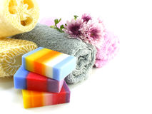 Mix fruit soap with towel and luffa for cleaning royalty free stock image