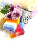 Mix fruit soap with towel and luffa for cleaning royalty free stock photos