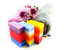 Mix fruit soap with towel and luffa for cleaning stock photos