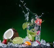 Mix fruit with water splash Stock Photography