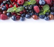 Mix fruits berries isolated on white background. Ripe currants, raspberries, blueberries, gooseberrie, blackberries with a mint le. Af. Sweet and juicy fruits Stock Photos