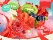 Mix fruits and berries. Splash of juice. 3d vector, package design. Mix fruits and berries. Splash of juice. Strawberry, raspberry, blueberry and watermelon. 3d vector illustration