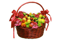 Mix of fruits and berries in a wicker basket. Royalty Free Stock Photography