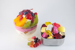 Mix fruits cake and jelly Royalty Free Stock Photography