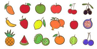 Mix fruits collection, cute colorful vector illustration in cart Stock Images