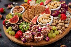 Mix fruits and nuts, healthy diet Stock Photos