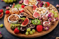 Mix fruits and nuts, healthy diet, Turkish sweets Royalty Free Stock Photography
