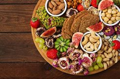 Mix fruits and nuts, healthy diet, Turkish sweets, Royalty Free Stock Photos