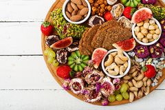 Mix fruits and nuts, healthy diet, Turkish sweets, eating lean. Royalty Free Stock Images