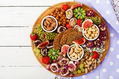 Mix fruits and nuts, healthy diet, Turkish sweets, eating lean. Stock Images