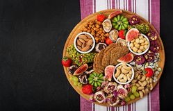 Mix fruits and nuts, healthy diet, Turkish sweets, eating lean. Royalty Free Stock Photography