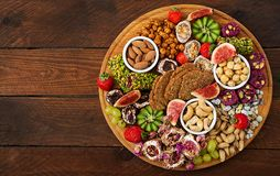 Mix fruits and nuts, healthy diet, Turkish sweets, eating lean. Royalty Free Stock Photos
