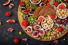 Mix fruits and nuts, healthy diet, Turkish sweets, eating lean Stock Images