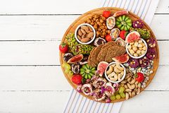 Mix fruits and nuts, healthy diet, Turkish sweets, eating lean. Royalty Free Stock Image