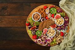 Mix fruits and nuts, healthy diet, Turkish sweets Royalty Free Stock Images