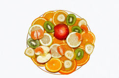 MIX FRUITS. On the plate.Fresh fruits.Healthy eating, dieting concept, clean eating Royalty Free Stock Photography