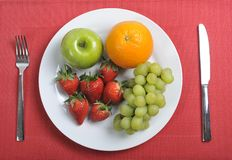 Mix fruits on  plate healthy nutrition concept Stock Image