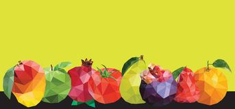 mix fruits polygon border frame Royalty Free Stock Photo